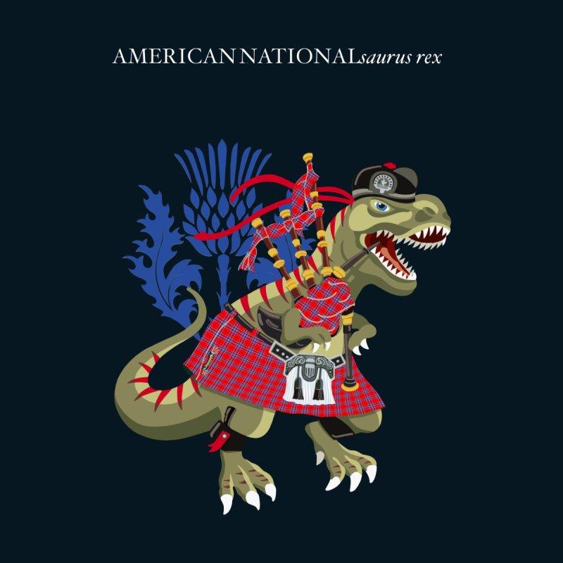 Clanosaurus Rex AMERICANNATIONALsaurus rex Plaid USA American National Family Tartan Clan Men's T-Shirt by BullShirtCo