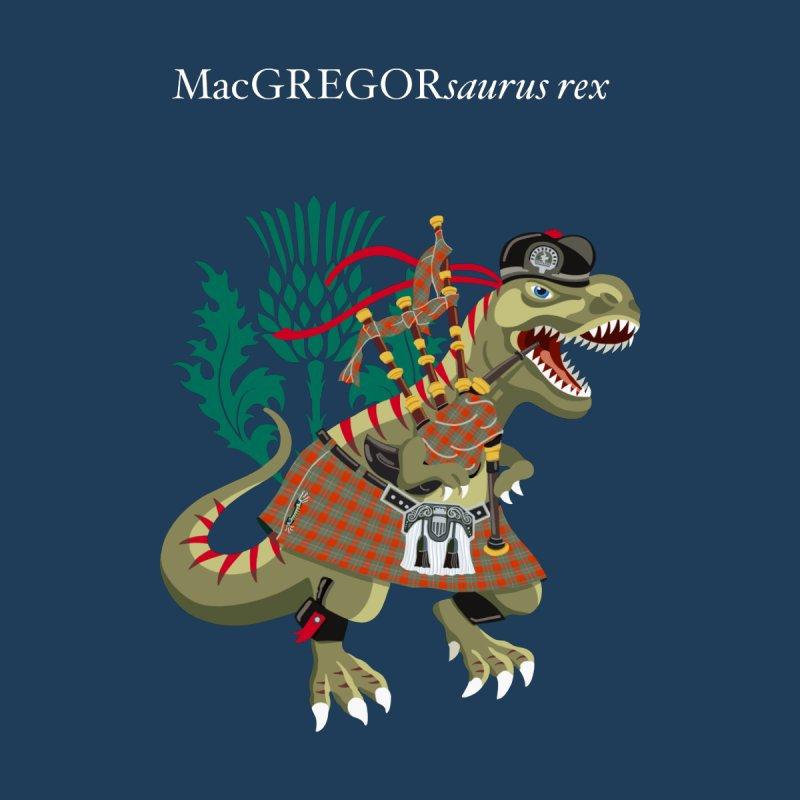 Clanosaurus Rex MacGREGORsaurus rex Plaid MacGregor Scotland Ireland Family Tartan Accessories Neck Gaiter by BullShirtCo