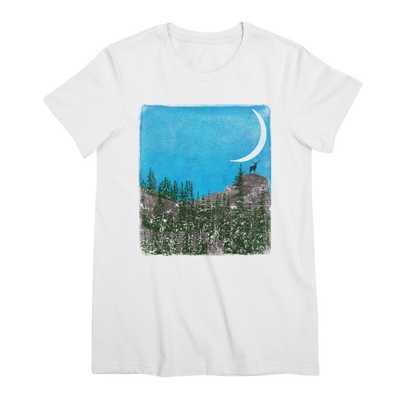 Lonely Deer - Turquoise Night version Women's Premium T-Shirt by bulo