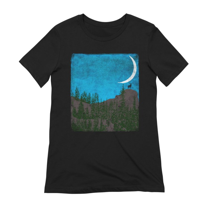 Lonely Deer - Turquoise Night version Women's Extra Soft T-Shirt by bulo