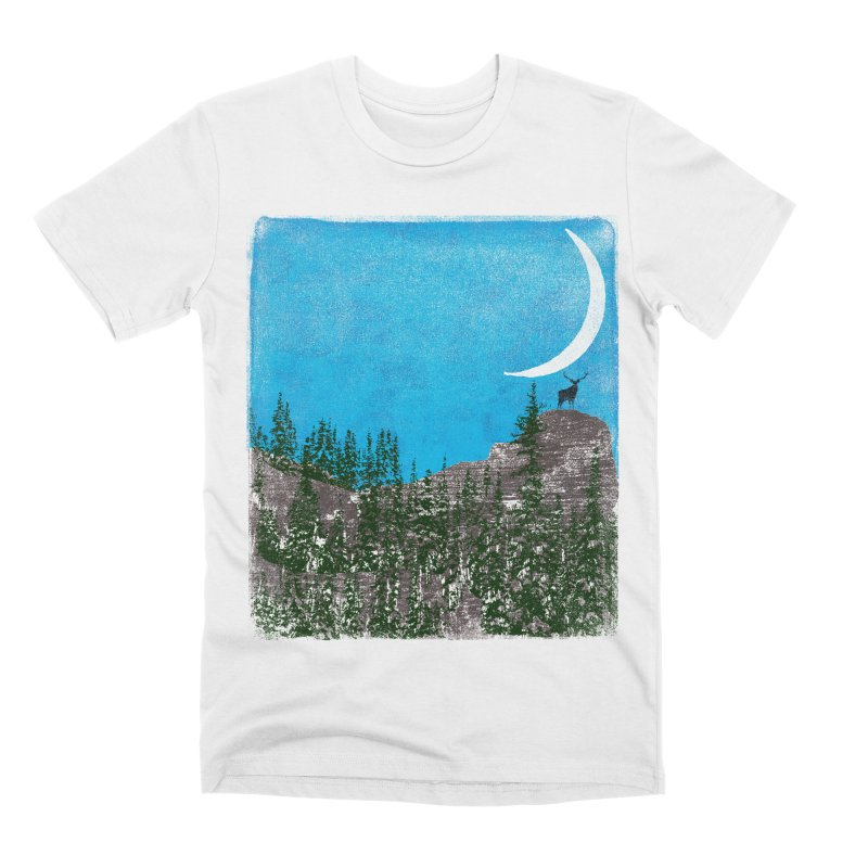 Lonely Deer - Turquoise Night version Men's Premium T-Shirt by bulo
