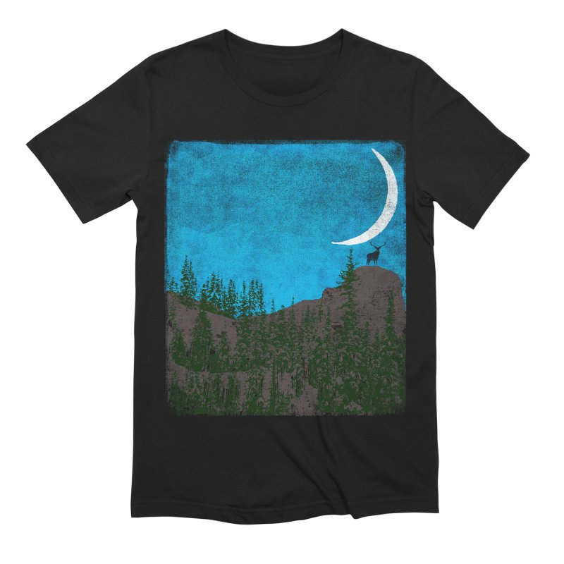 Lonely Deer - Turquoise Night version Men's Extra Soft T-Shirt by bulo