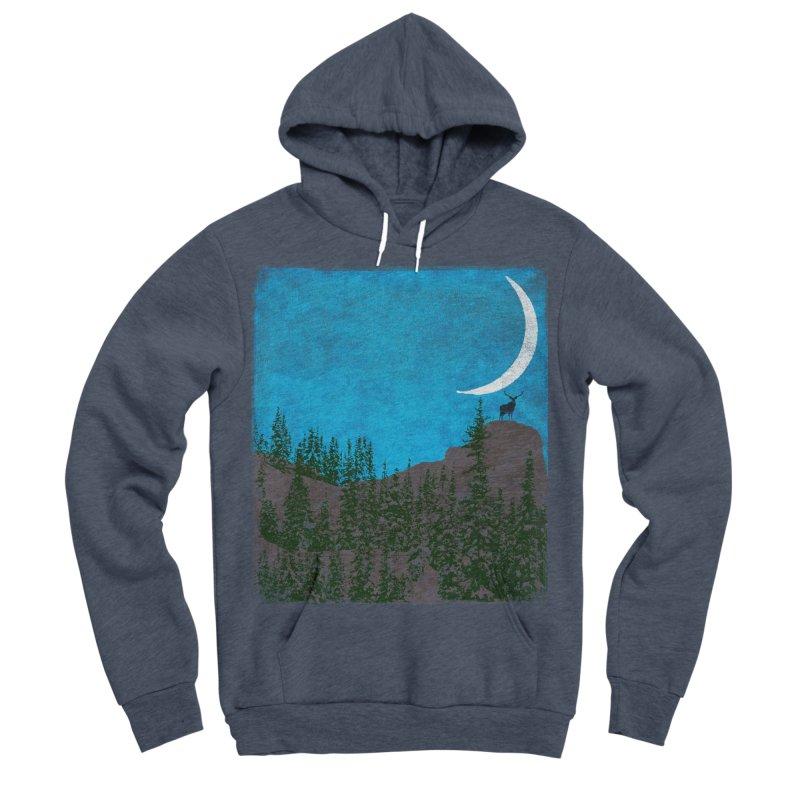 Lonely Deer - Turquoise Night version Women's Sponge Fleece Pullover Hoody by bulo