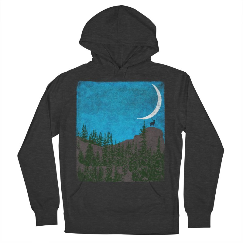 Lonely Deer - Turquoise Night version Women's French Terry Pullover Hoody by bulo