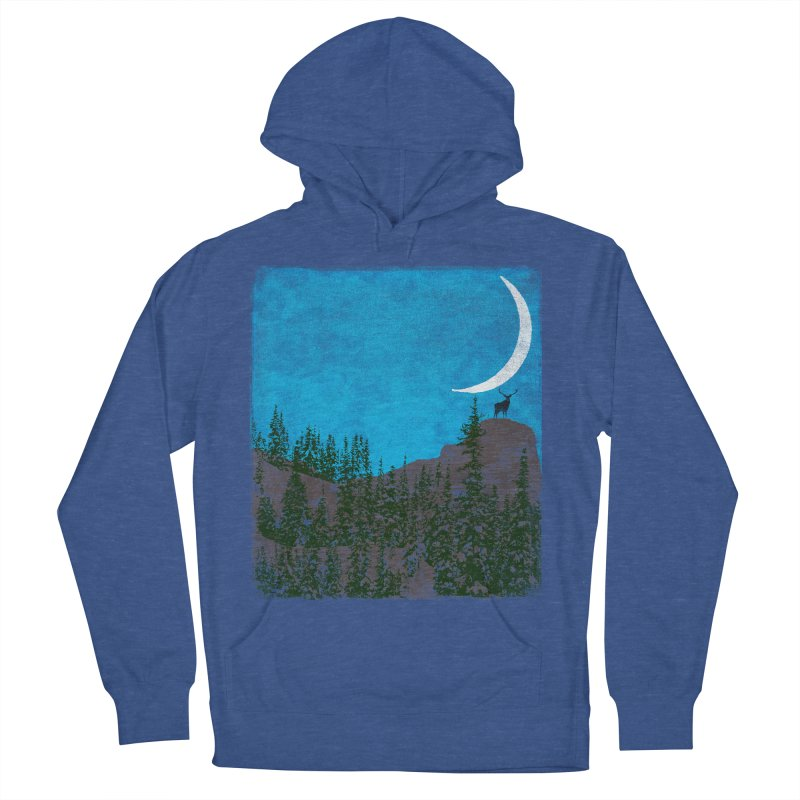 Lonely Deer - Turquoise Night version Men's French Terry Pullover Hoody by bulo