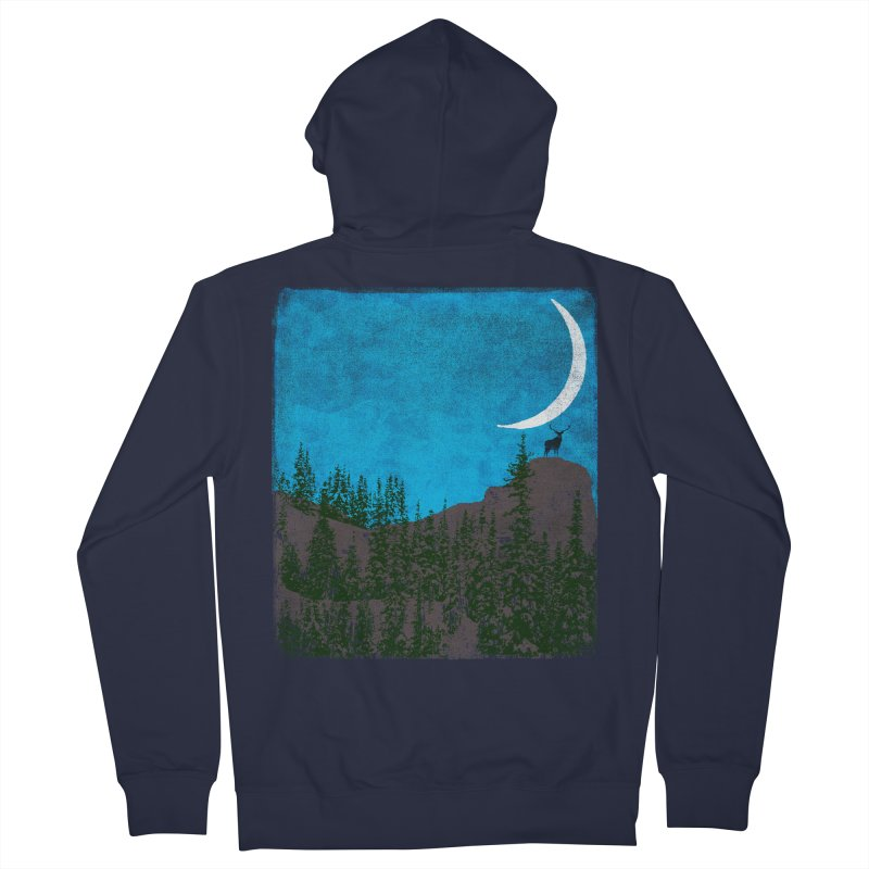 Lonely Deer - Turquoise Night version Men's French Terry Zip-Up Hoody by bulo