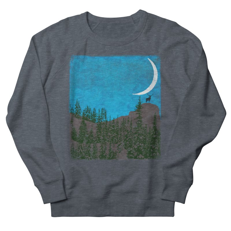 Lonely Deer - Turquoise Night version Women's French Terry Sweatshirt by bulo
