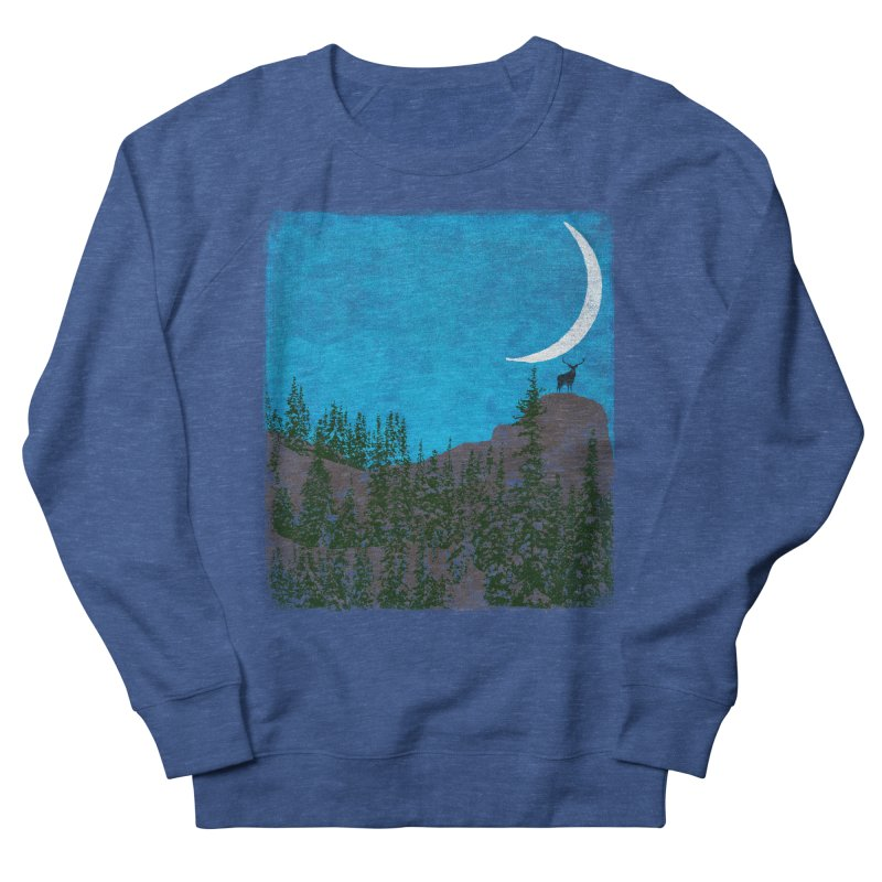 Lonely Deer - Turquoise Night version Men's French Terry Sweatshirt by bulo