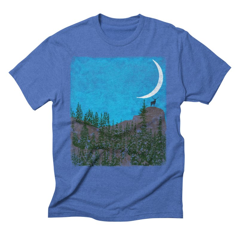 Lonely Deer - Turquoise Night version Men's Triblend T-Shirt by bulo