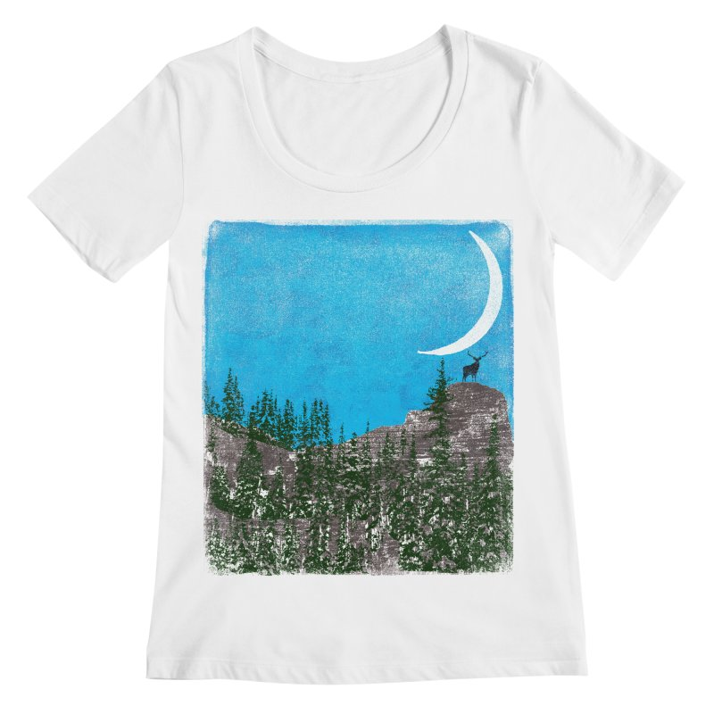 Lonely Deer - Turquoise Night version Women's Regular Scoop Neck by bulo