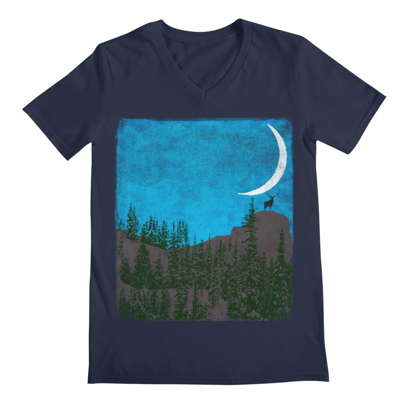 Lonely Deer - Turquoise Night version Men's Regular V-Neck by bulo