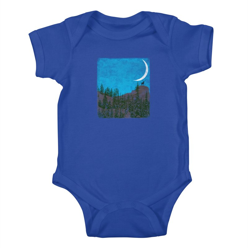 Lonely Deer - Turquoise Night version Kids Baby Bodysuit by bulo