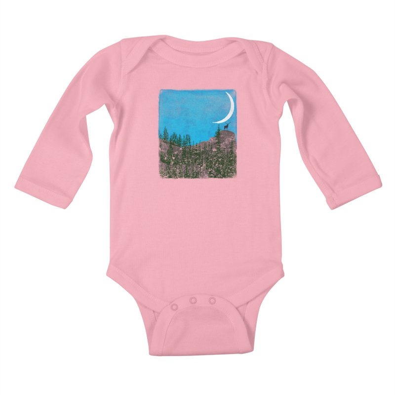 Lonely Deer - Turquoise Night version Kids Baby Longsleeve Bodysuit by bulo
