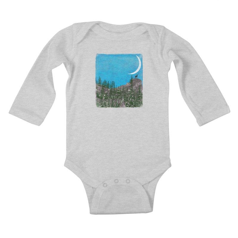 Lonely Deer - Turquoise Night version Kids Baby Longsleeve Bodysuit by bulo