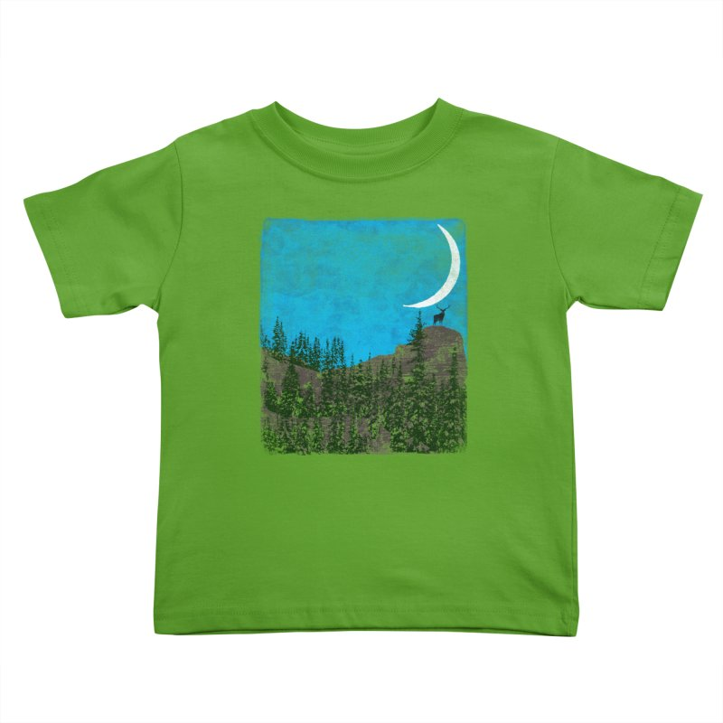 Lonely Deer - Turquoise Night version Kids Toddler T-Shirt by bulo