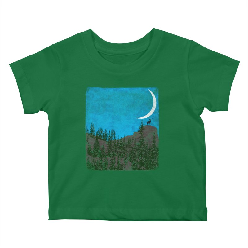 Lonely Deer - Turquoise Night version Kids Baby T-Shirt by bulo
