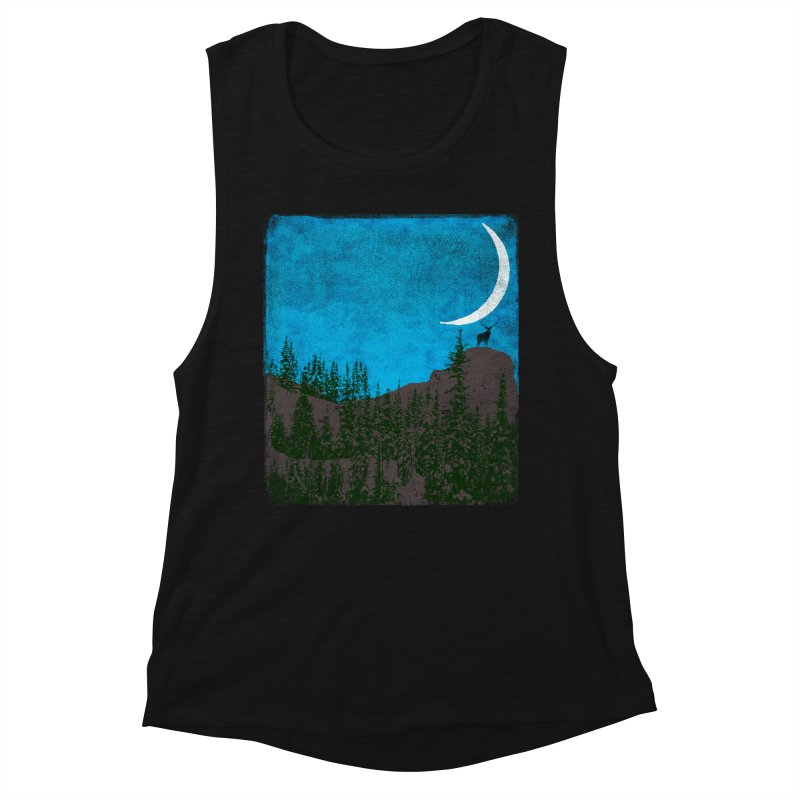 Lonely Deer - Turquoise Night version Women's Tank by bulo