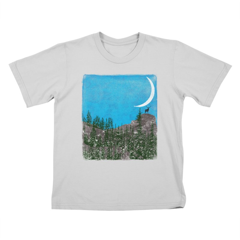 Lonely Deer - Turquoise Night version Kids T-Shirt by bulo