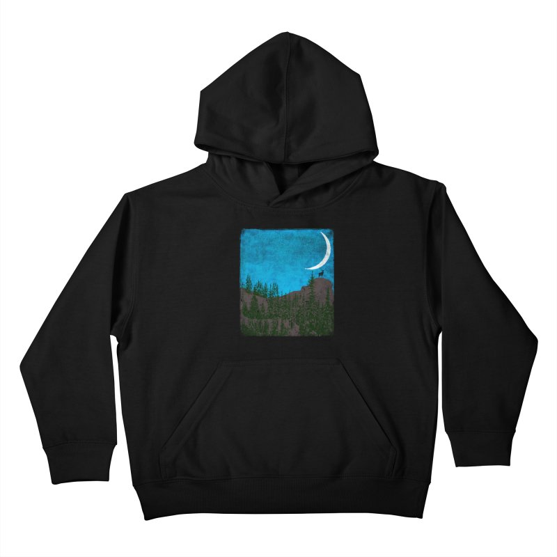 Lonely Deer - Turquoise Night version Kids Pullover Hoody by bulo