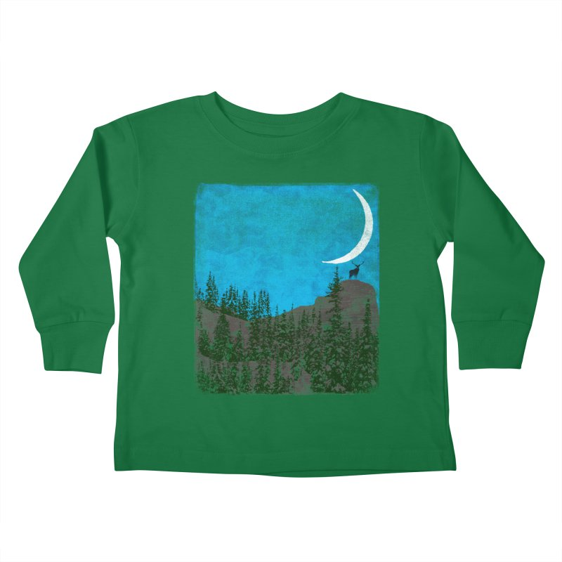 Lonely Deer - Turquoise Night version Kids Toddler Longsleeve T-Shirt by bulo