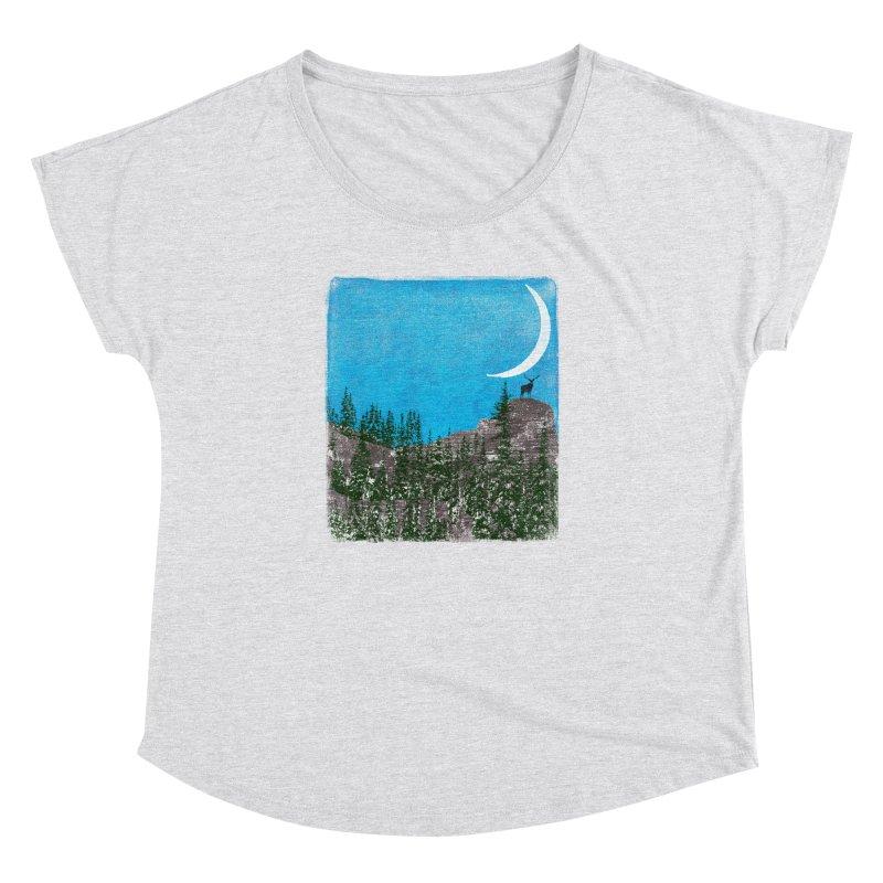 Lonely Deer - Turquoise Night version Women's Dolman Scoop Neck by bulo