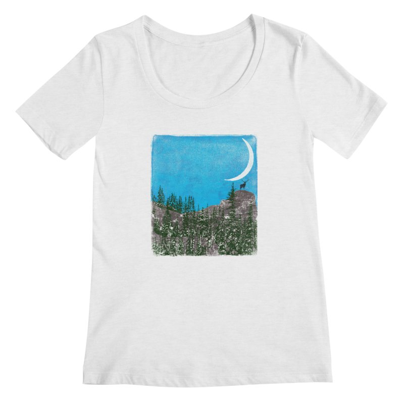 Lonely Deer - Turquoise Night version Women's Scoop Neck by bulo