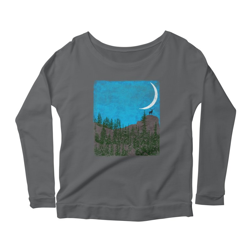 Lonely Deer - Turquoise Night version Women's Scoop Neck Longsleeve T-Shirt by bulo
