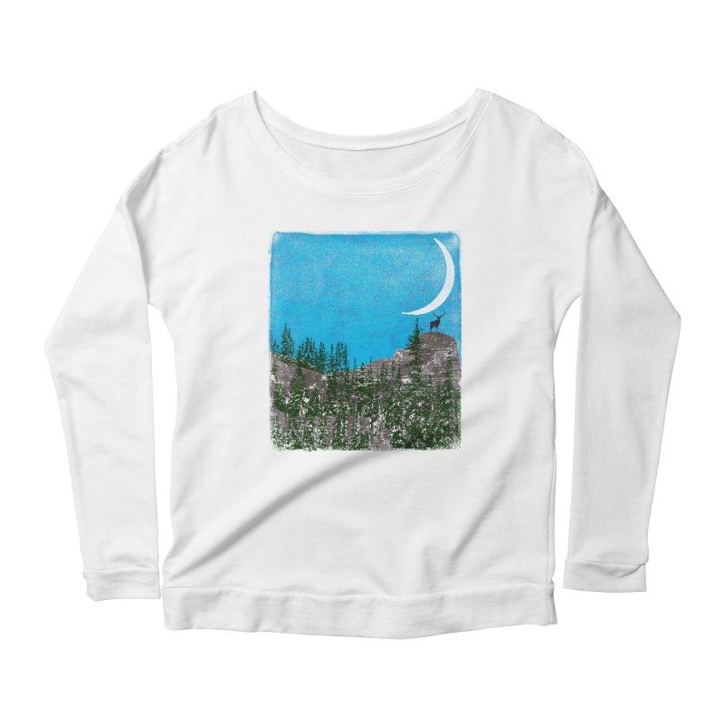 Lonely Deer - Turquoise Night version Women's Scoop Neck Longsleeve T-Shirt by bulo