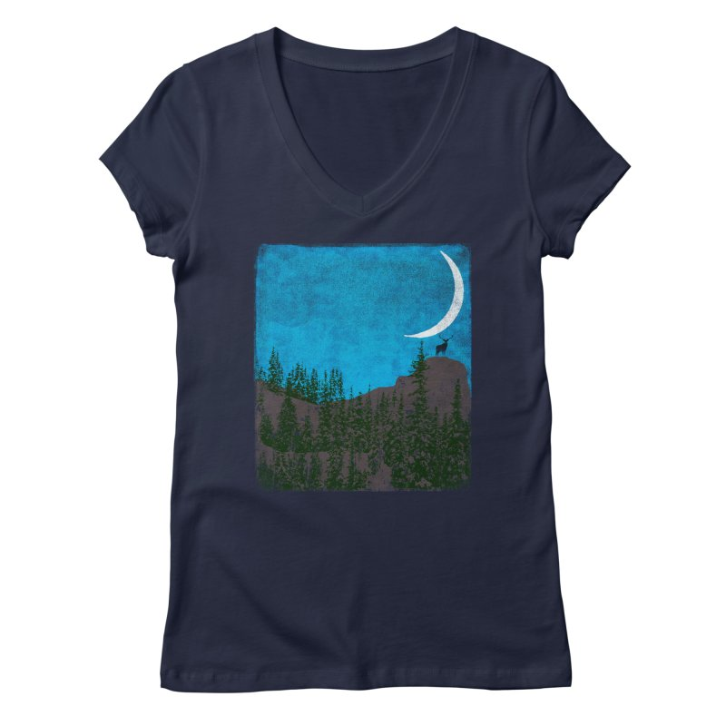 Lonely Deer - Turquoise Night version Women's Regular V-Neck by bulo