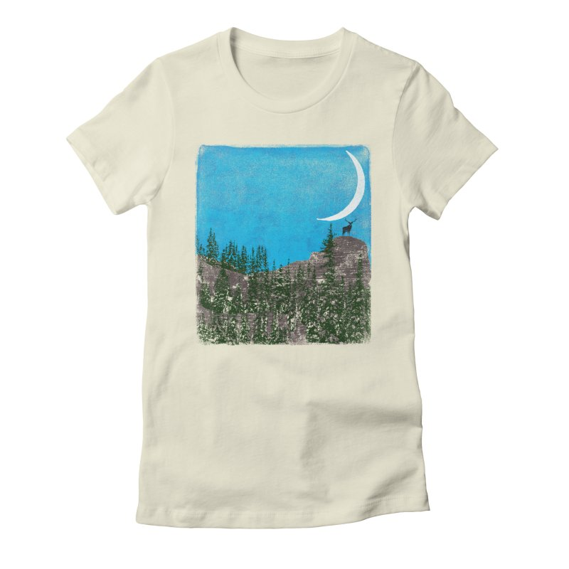 Lonely Deer - Turquoise Night version Women's Fitted T-Shirt by bulo