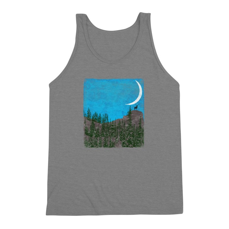 Lonely Deer - Turquoise Night version Men's Triblend Tank by bulo