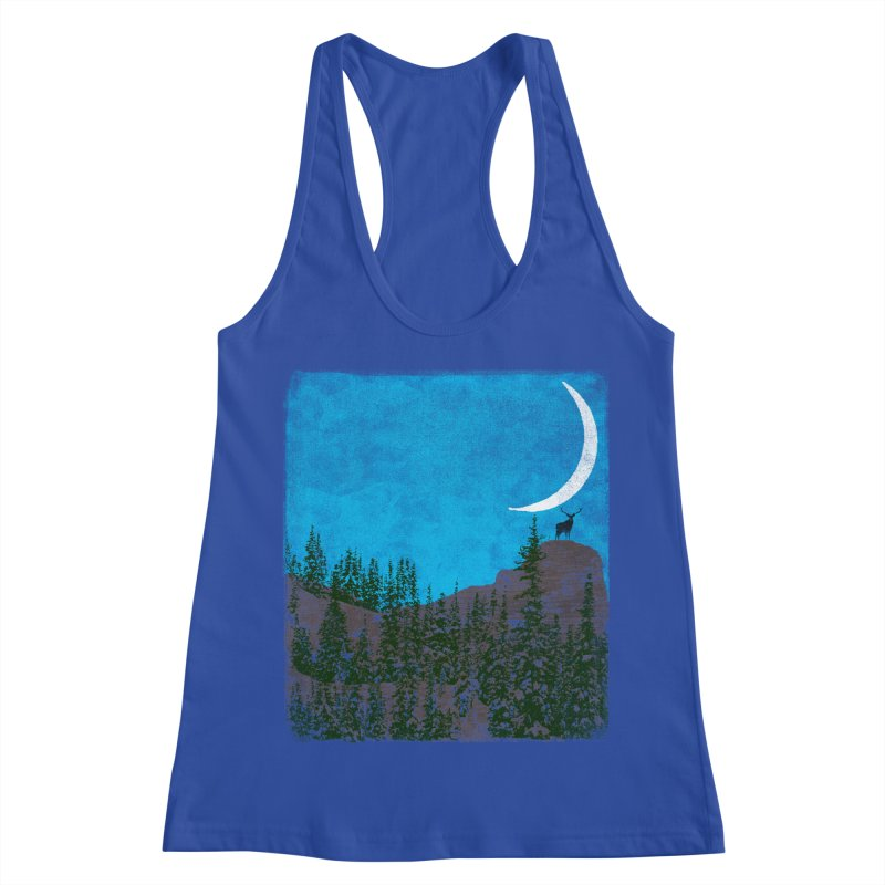 Lonely Deer - Turquoise Night version Women's Racerback Tank by bulo