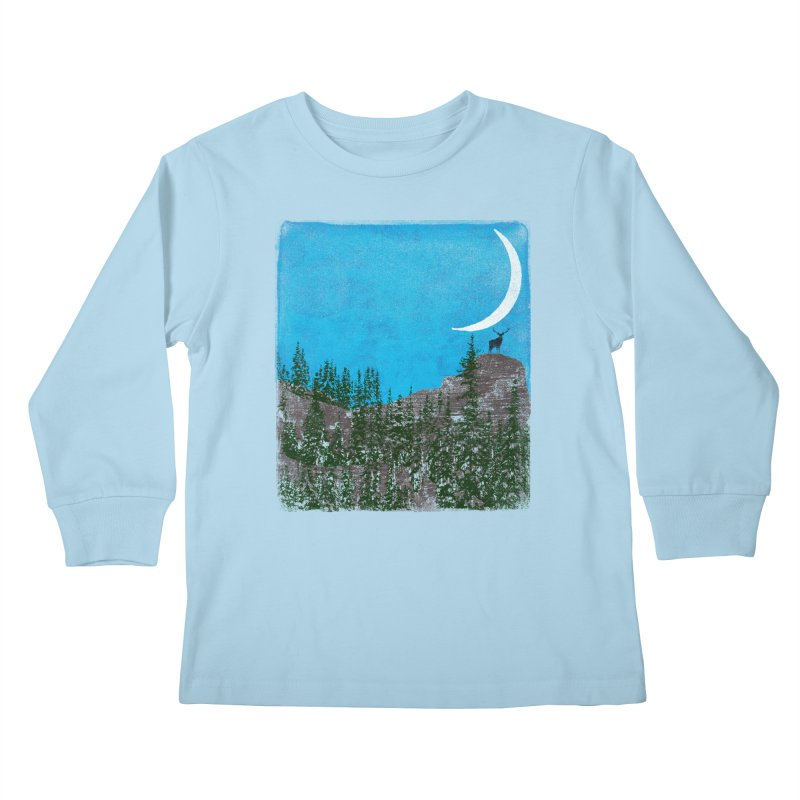 Lonely Deer - Turquoise Night version Kids Longsleeve T-Shirt by bulo