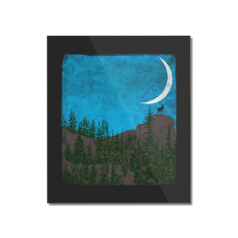 Lonely Deer - Turquoise Night version Home Mounted Acrylic Print by bulo