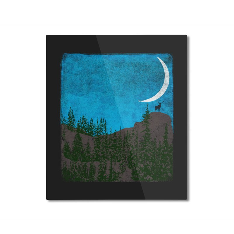 Lonely Deer - Turquoise Night version Home Mounted Aluminum Print by bulo