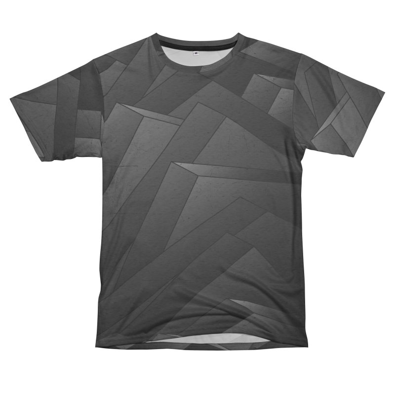 Isometric Waves / rework / bw version Men's French Terry T-Shirt Cut & Sew by bulo