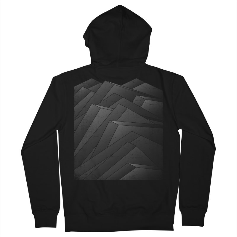 Isometric Waves / rework / bw version Women's French Terry Zip-Up Hoody by bulo