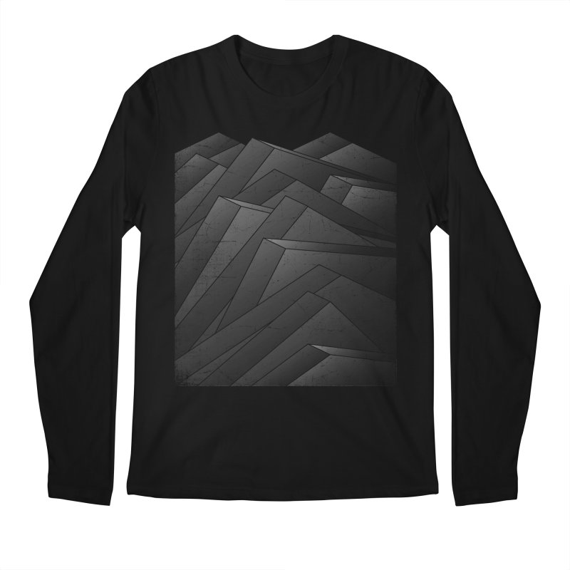 Isometric Waves / rework / bw version Men's Regular Longsleeve T-Shirt by bulo