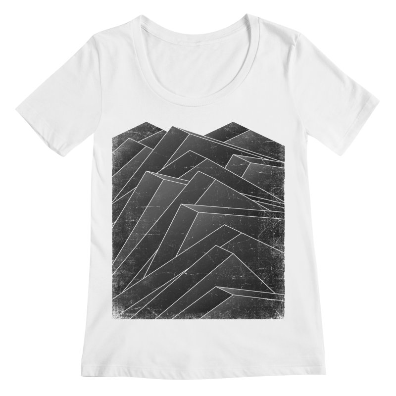 Isometric Waves / rework / bw version Women's Regular Scoop Neck by bulo