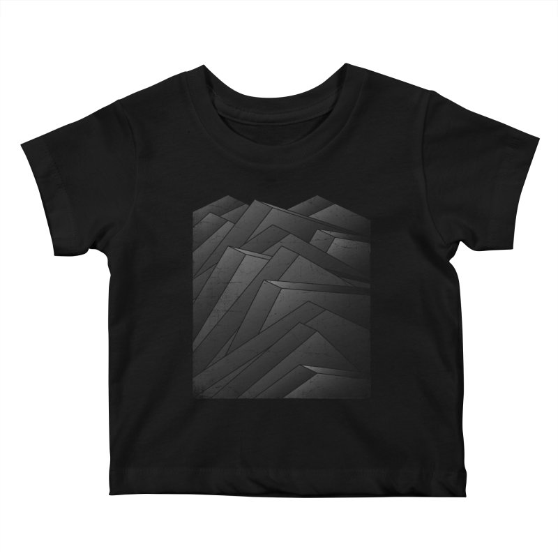 Isometric Waves / rework / bw version Kids Baby T-Shirt by bulo
