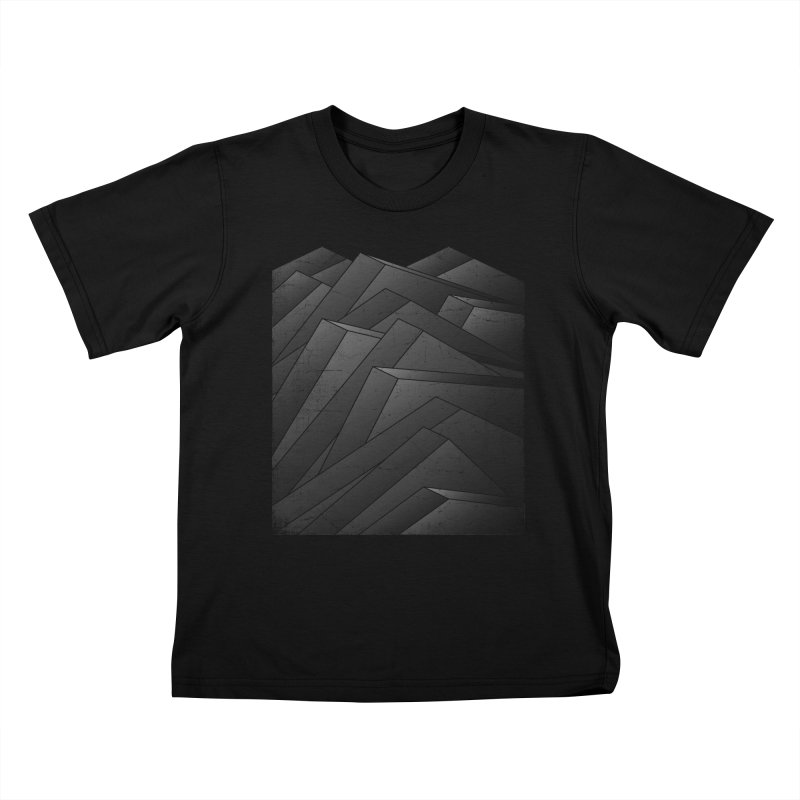 Isometric Waves / rework / bw version Kids T-Shirt by bulo