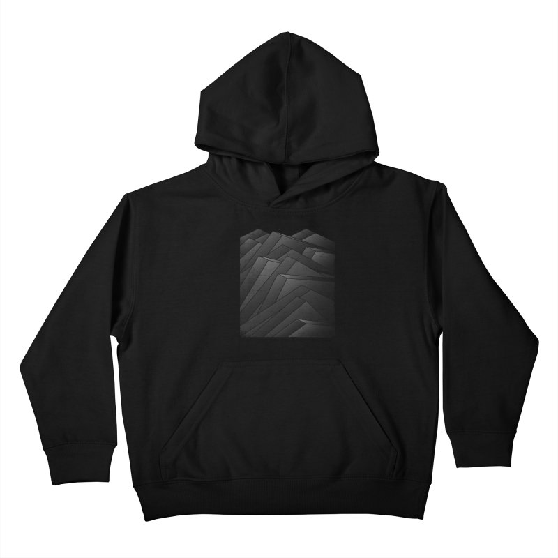Isometric Waves / rework / bw version Kids Pullover Hoody by bulo
