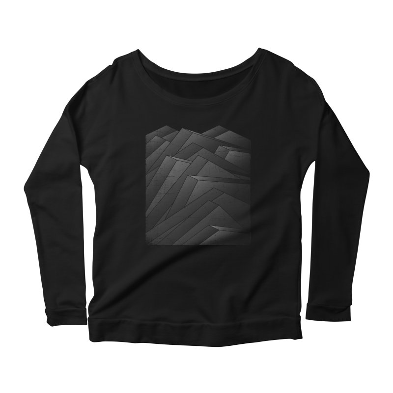 Isometric Waves / rework / bw version Women's Scoop Neck Longsleeve T-Shirt by bulo