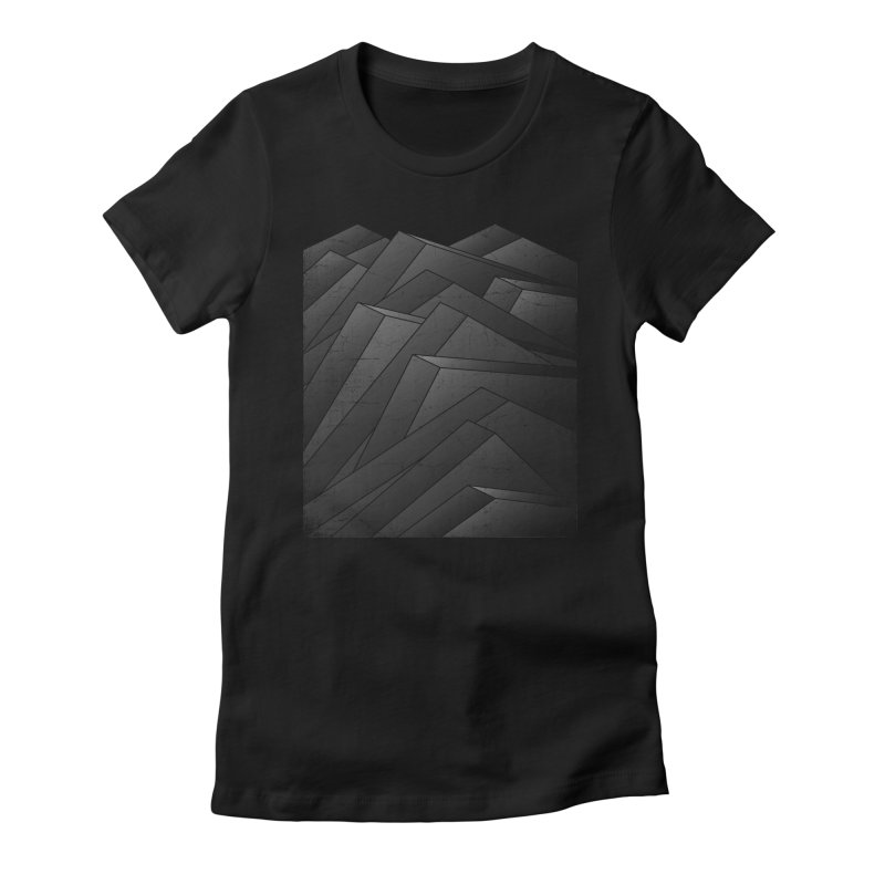Isometric Waves / rework / bw version Women's Fitted T-Shirt by bulo