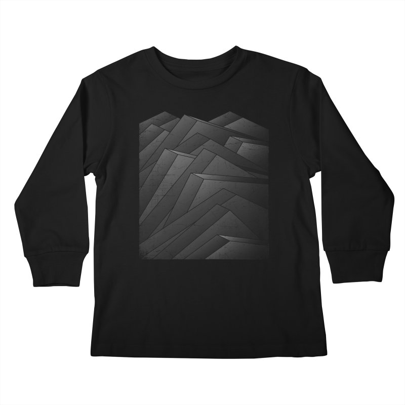 Isometric Waves / rework / bw version Kids Longsleeve T-Shirt by bulo