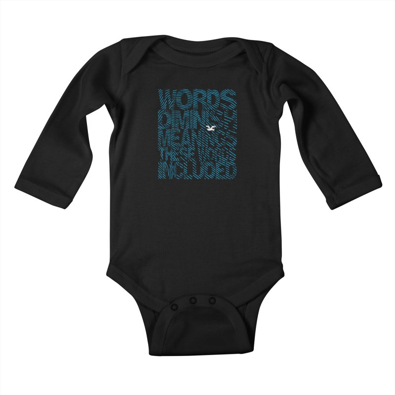 Words (Flying Bird Version) Kids Baby Longsleeve Bodysuit by bulo