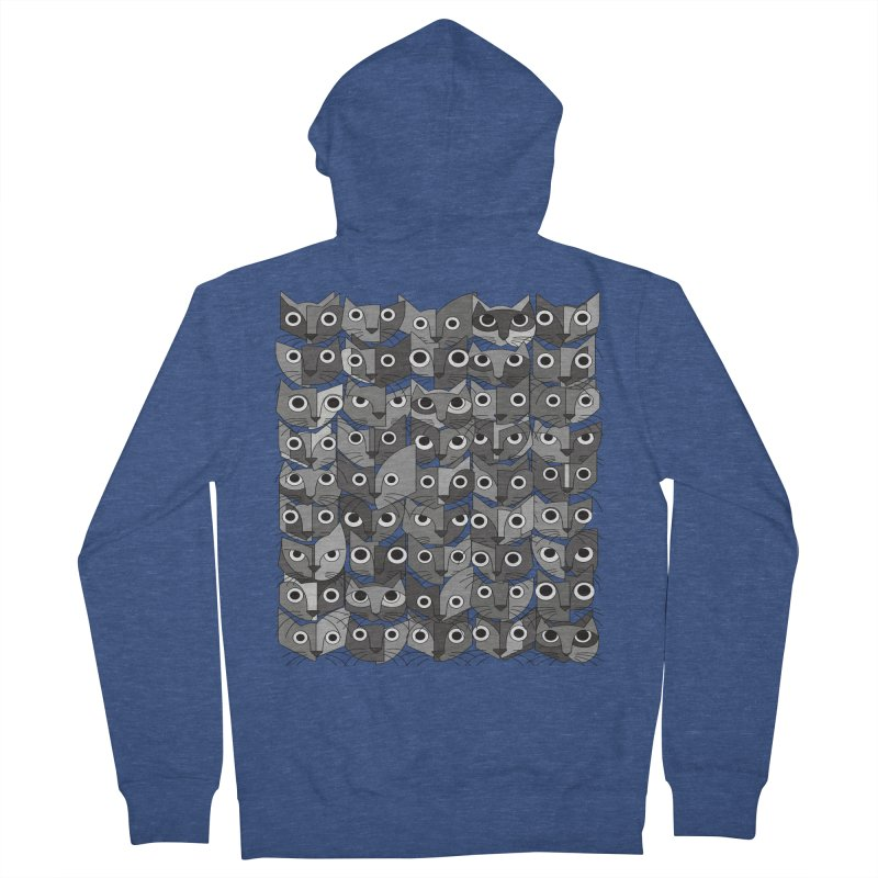 Cats (fortyfivepack bw version) Men's French Terry Zip-Up Hoody by bulo