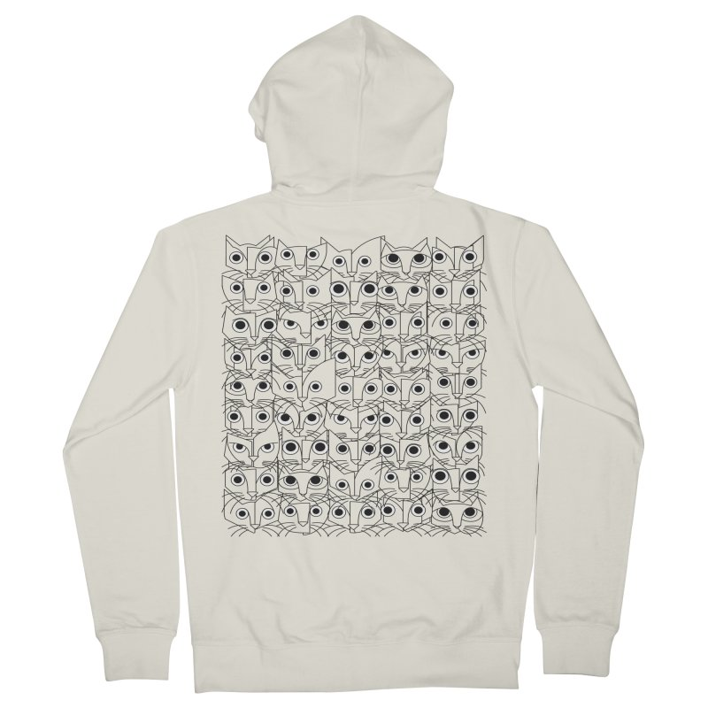 Cats (fortyfivepack bw outline version) Men's French Terry Zip-Up Hoody by bulo