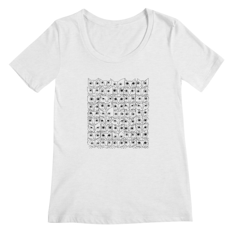 Cats (fortyfivepack bw outline version) Women's Regular Scoop Neck by bulo