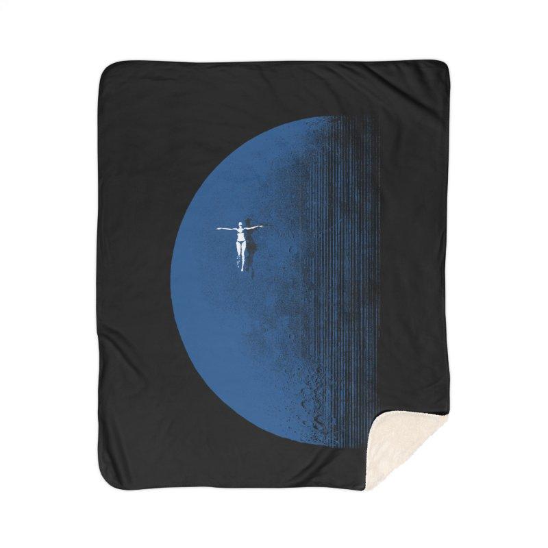 Pure Blue Moon Phantasy Home Sherpa Blanket Blanket by bulo